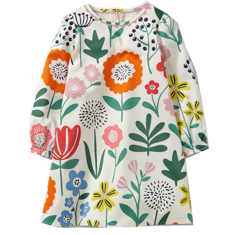 100% Cotton Long Sleeve Girls Tunic Flower Dress