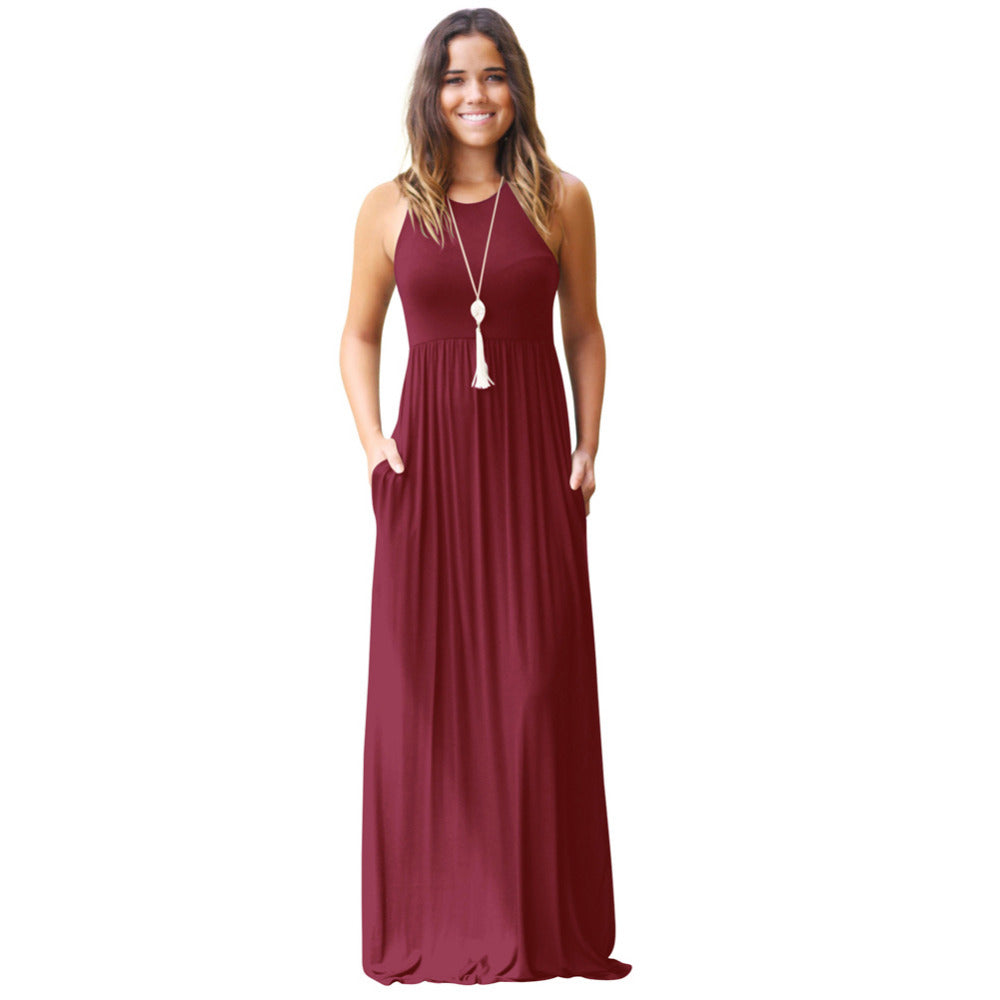High Waist Pleated Pockets Maxi Casual Sexy Dress
