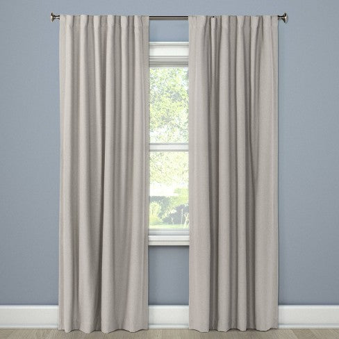 "108""x50"" Aruba Linen Blackout Curtain Panel Gray - Threshold"