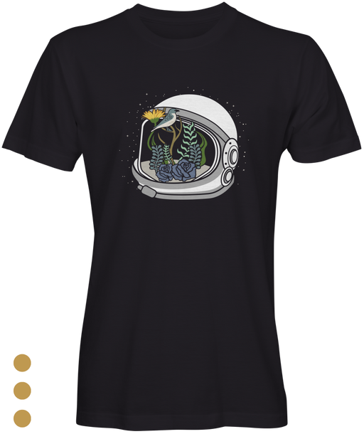 Black Astronauts Inspired T-Shirt With Flowers Sm T-Shirt Crew Neck