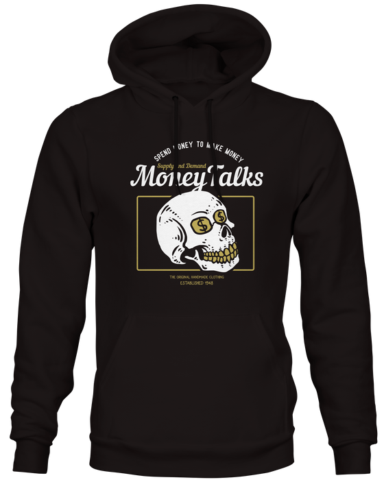 Money Talks Dollar Skull Black Hoodie