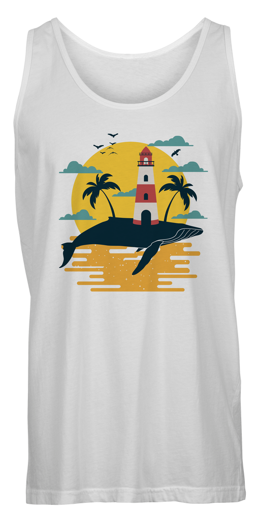Whale Lighthouse Inspired Beach Tank Top