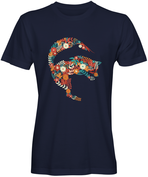 Colorful Flowery Fox Dolphin Black T-shirts