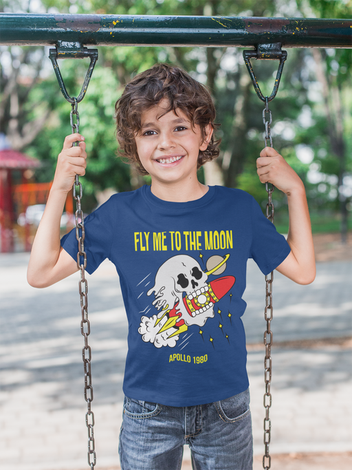 Fly Me To The Moon Skull Youth T-Shirt