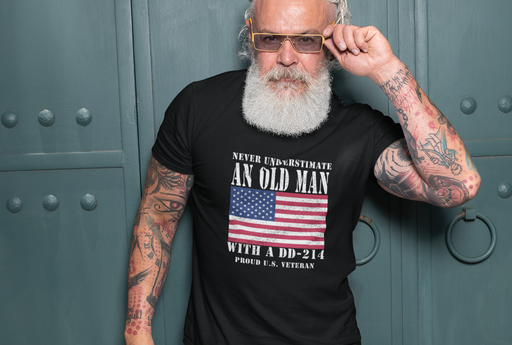 Old Man with a DD214 Veteran T-shirts