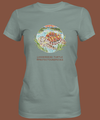 Turtle Organic Ladies T shirt - FulFill4me - Savannah Earth Day