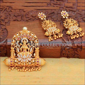 Antique Stone Studded Lotus And Lakshmi Pendant Set - Pink - Pendant Set