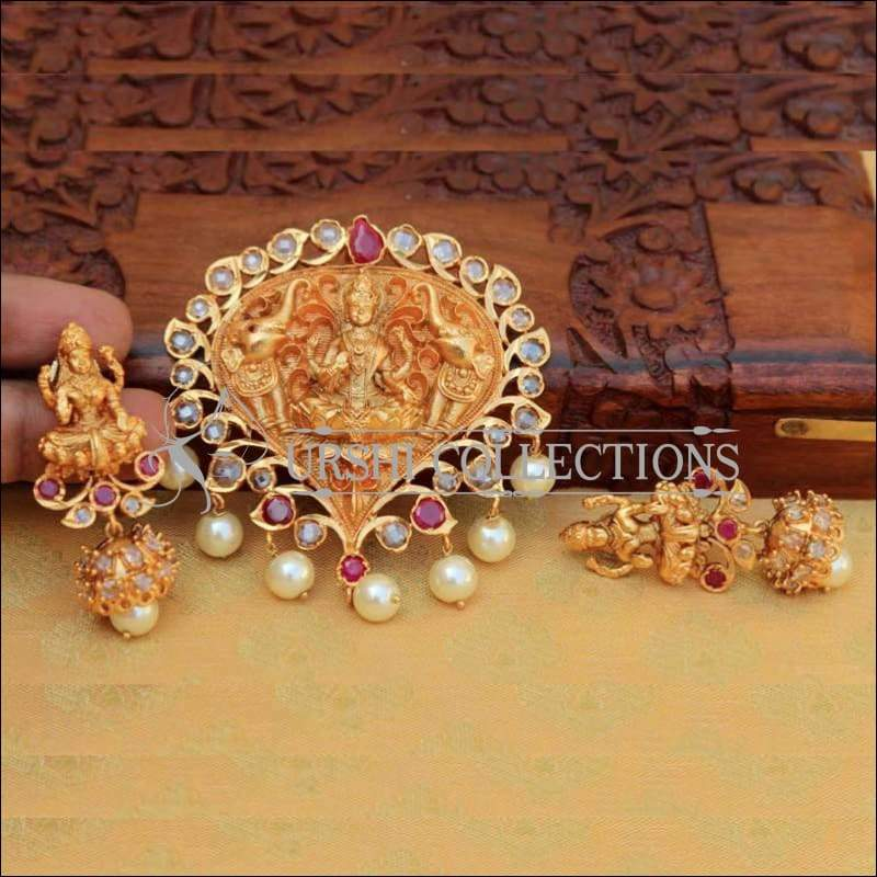 Banyan Leaf Shaped Lakshmi Pendant Set - Pendant Set