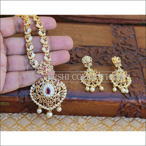 BEAUTIFUL CZ REAL KEMPU PEACOCK NECKLACE SET UTV186 - Necklace Set