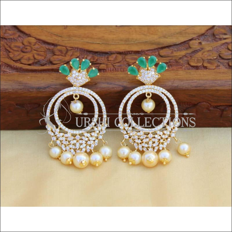 Beautiful Designer CZ earrings Set UC-NEW527 - Green - Earrings