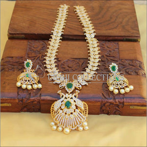 BEAUTIFUL DESIGNER CZ PEACOCK NECKLACE SET UTV446 - Necklace Set
