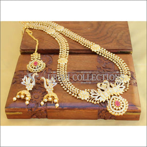 BEAUTIFUL DESIGNER CZ PEACOCK NECKLACE SET UTV450 - Necklace Set