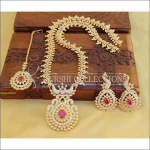 BEAUTIFUL DESIGNER CZ PEACOCK NECKLACE SET UTV459 - Necklace Set