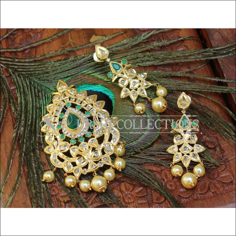 Beautiful Designer CZ Pendant Set UC-NEW903 - Green - Pendant Set