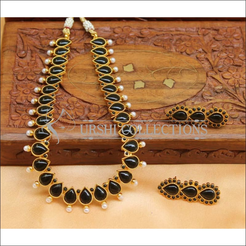 Beautiful Designer Kempu Necklace Set UC-NEW718 - Black - Necklace Set