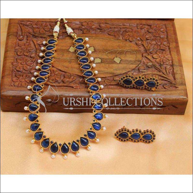 Beautiful Designer Kempu Necklace Set UC-NEW718 - Blue - Necklace Set