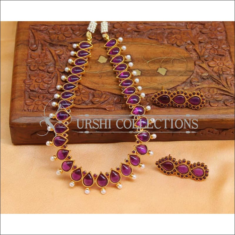 Beautiful Designer Kempu Necklace Set UC-NEW718 - Purple - Necklace Set