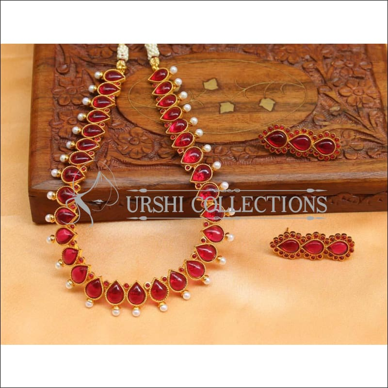 Beautiful Designer Kempu Necklace Set UC-NEW718 - Red - Necklace Set