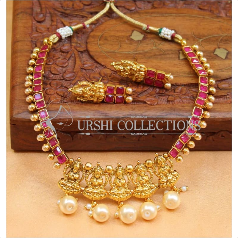 Beautiful Designer Lakshmi Necklace Set UC-NEW747 - Red - Necklace Set