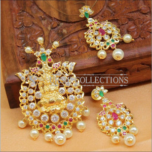 Beautiful Lakshmi CZ Pendant Set UC-NEW893 - Multi - Pendant Set