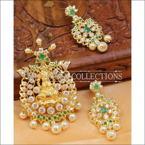 Beautiful Lakshmi CZ Pendant Set UC-NEW893 - White and Green - Pendant Set