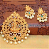 Beautiful Lakshmi Pendant Set Decorated With Flowers - Green - Pendant Set