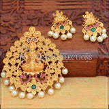 Beautiful Lakshmi Pendant Set Decorated With Flowers - Multi - Pendant Set