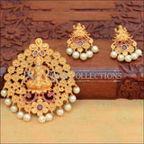 Beautiful Lakshmi Pendant Set Decorated With Flowers - Pink - Pendant Set