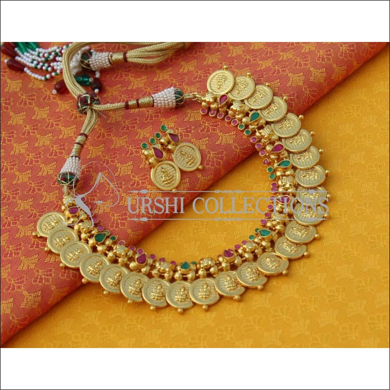Beautiful Matte Finish Lakshmi Necklace Set UC-NEW690 - Necklace Set