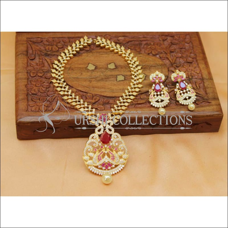 Beautiful Peacock CZ N ecklace Set UC-NEW1493 - Necklace Set
