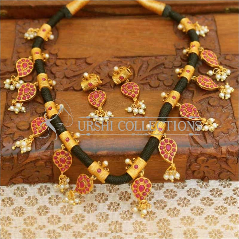 Black Thread Traditional Mango Designer Necklace Set - Pink - Necklace Set