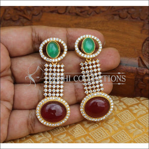 CZ DESIGNER EARRINGS UTV238 - GREEN RED - Earrings