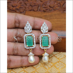 CZ DESIGNER EARRINGS UTV254 - GREEN - Earrings