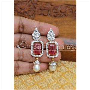 CZ DESIGNER EARRINGS UTV254 - RED - Earrings