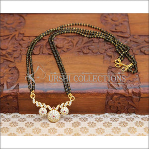 Designer Black Beads CZ Necklace Set UC-NEW1954 - Ruby - Mangalsutra