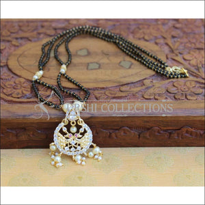 Designer Black Beads Necklace Set UC-NEW781 - White - Mangalsutra