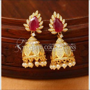 Designer CZ Earrings Set UC-NEW1421 - Ruby - Earrings