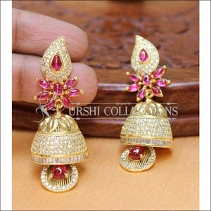 Designer CZ Earrings Set UC-NEW2264 - White&Ruby - Earrings