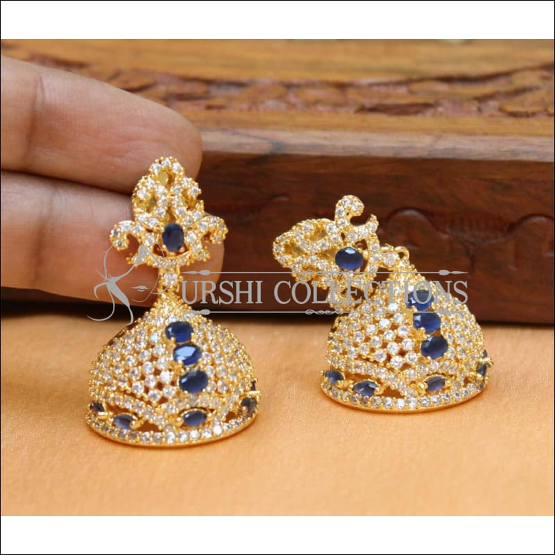 Designer CZ Earrings UC-NEW233 - Blue - Earrings
