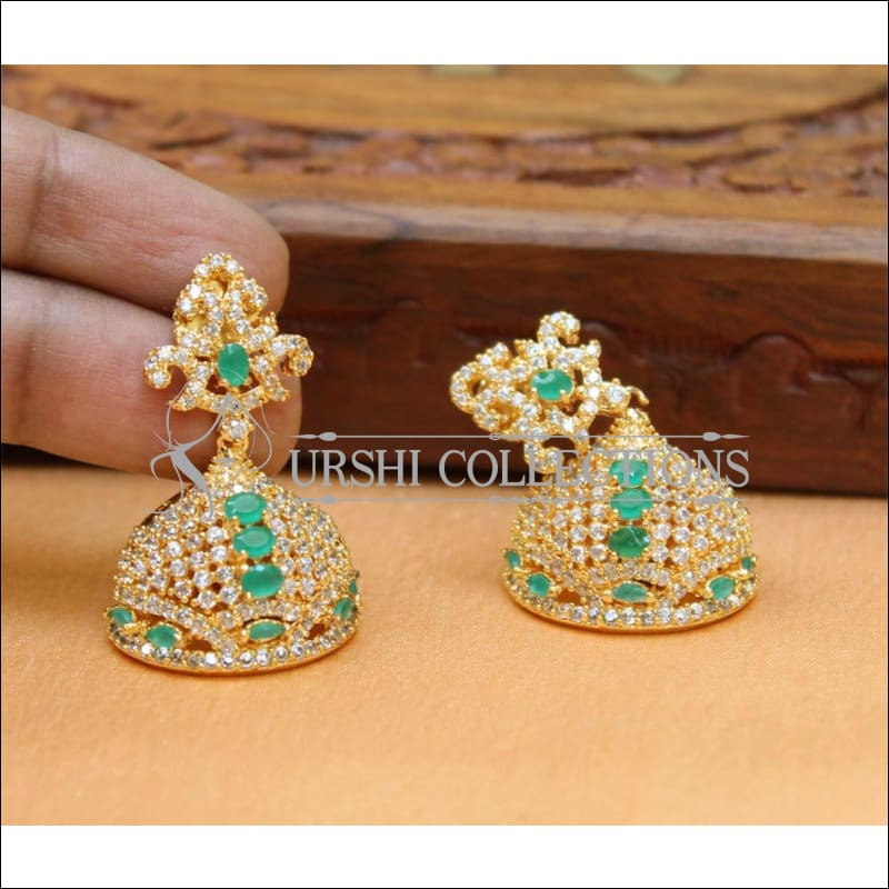 Designer CZ Earrings UC-NEW233 - Green - Earrings