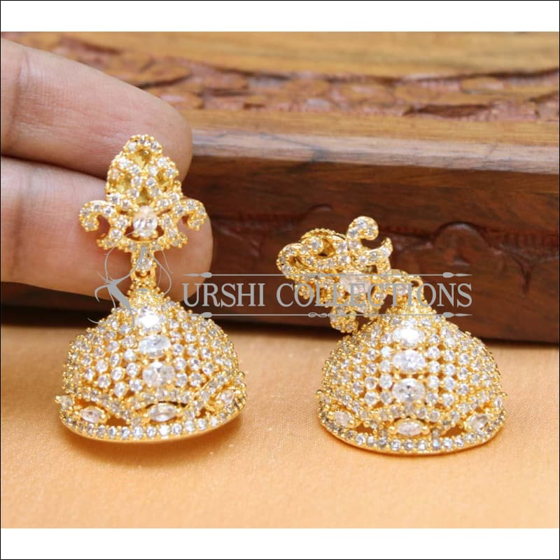 Designer CZ Earrings UC-NEW233 - White - Earrings