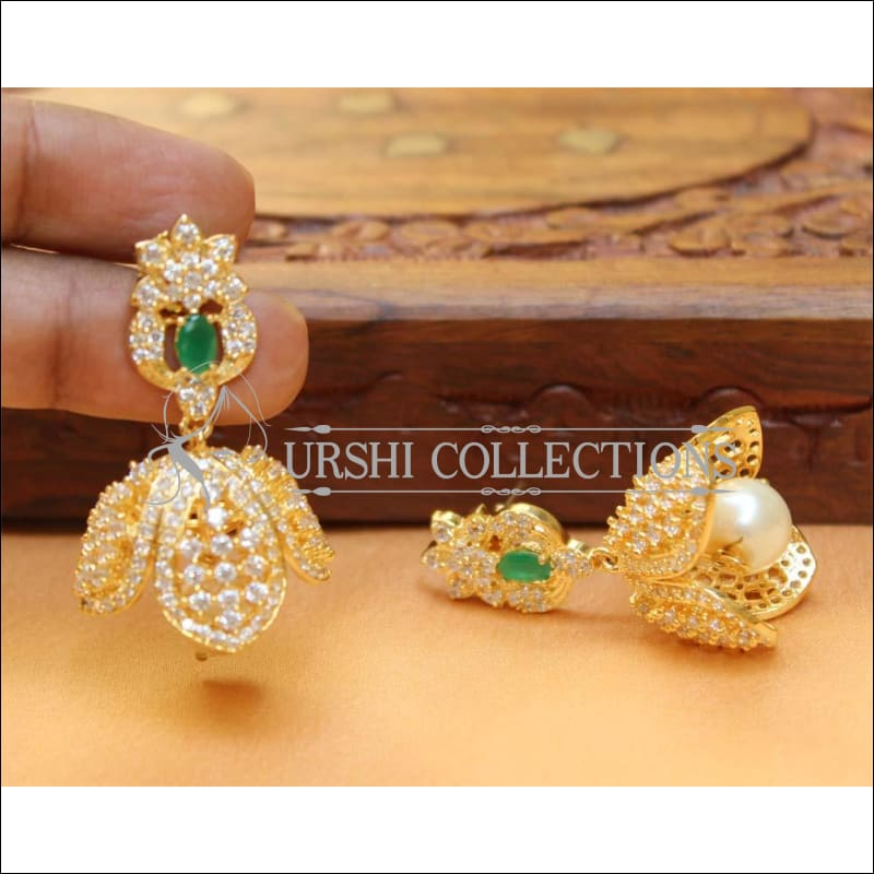 Designer CZ Earrings UC-NEW247 - Green - Earrings