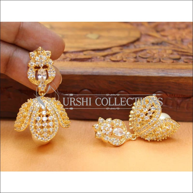 Designer CZ Earrings UC-NEW247 - White - Earrings