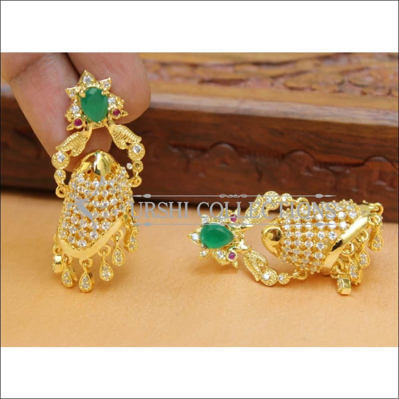 Designer CZ Earrings UC-NEW416 - Green - Earrings