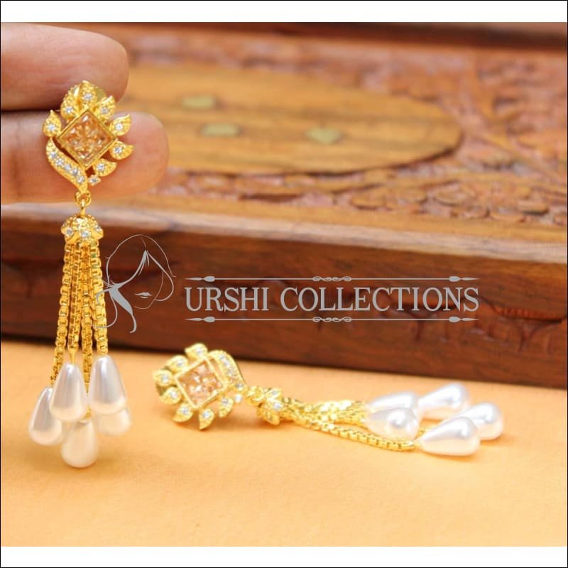 Designer CZ Earrings UC-NEW436 - CZ Yellow - Earrings