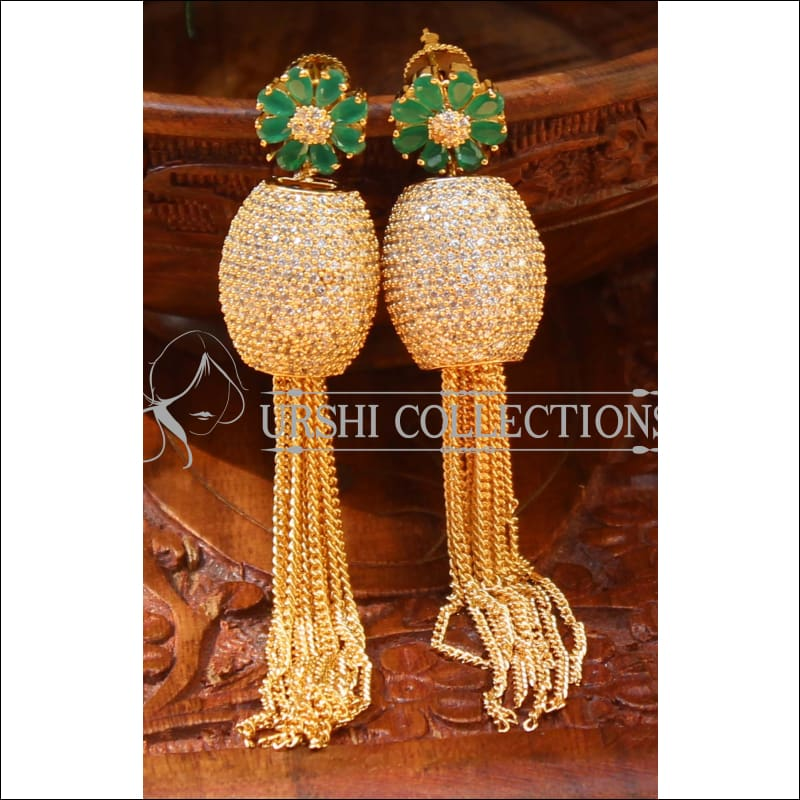 Designer CZ Earrings UC-NEW478 - Green - Earrings