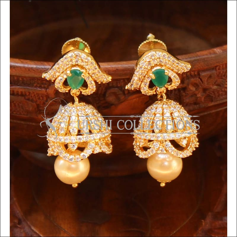Designer CZ Earrings UC-NEW482 - Green - Earrings