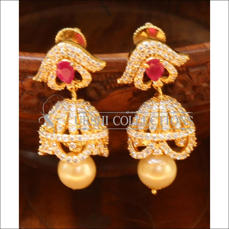 Designer CZ Earrings UC-NEW482 - Red - Earrings