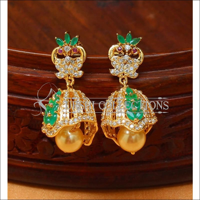 Designer CZ Earrings UC-NEW486 - Green - Earrings