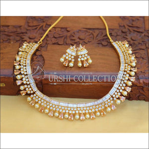 DESIGNER CZ NECKLACE SET UC-NEW2935 - gold - Necklace Set